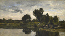 Karl Pierre DAUBIGNY (1846-1886) - Laundresses on the banks of a stream