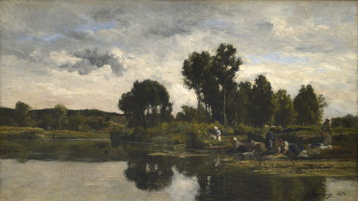 Karl Pierre DAUBIGNY - Painting - Laundresses on the banks of a stream