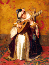Cesare MACCARI - Painting - Suonatrice di liuto