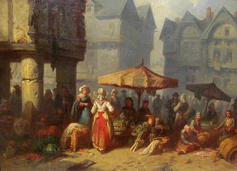 Alexis Auguste DARCY-DUMOULIN - Painting - Scène d`un marché dans une ville de normandie ou Bretagne.