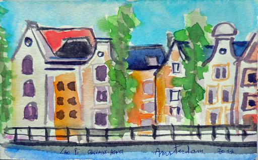 Jean-Pierre CHEVASSUS-AGNES - Drawing-Watercolor - promenade à AMSTERDAM (3)