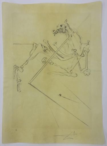 Salvador DALI - Druckgrafik-Multiple - Le Soleil couchant allonge le squelette noir d'un grand...