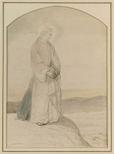 "Cecil VAN HAANEN - Drawing-Watercolor - ""Jesus Christ"", Drawing, late 19th Century"