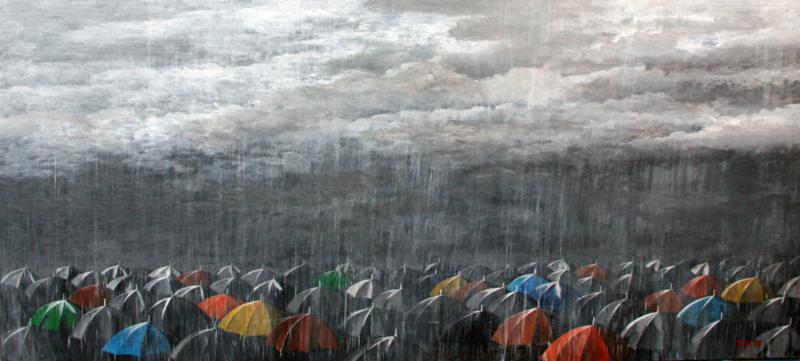 Zurab GIKASHVILI - Gemälde - Umbrellas. Rain