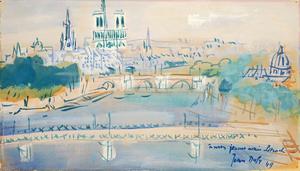 Jean DUFY - Dessin-Aquarelle - La passerelle des Arts