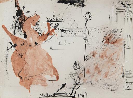 Salvador DALI - Drawing-Watercolor - Le cardinal