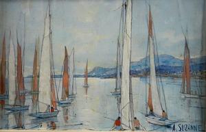 André SUZANNE - Gemälde - Regatta voor Menton