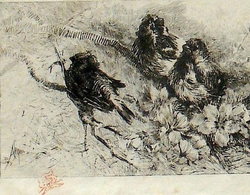 """Alejandro SEIQUER - Grabado - """"Pajarillos"""" - """"Oiseaux """" Paris"""