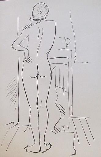 Erich HARTMANN - Dessin-Aquarelle - #19925: Akt einer Frau, Rückansicht.