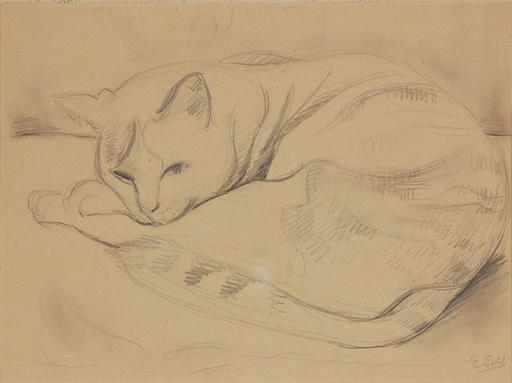 """Eugen GOLL - Drawing-Watercolor - """"Cat Study"""", Drawing"""
