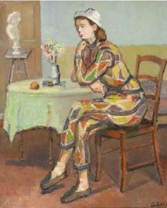 Ossip LUBITCH - Peinture - Jeune femme songeuse en habit d'arlequin