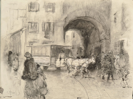 Mosè di Giosuè BIANCHI - Dibujo Acuarela - LA PUSTERLA DEI FABBRI, MILANO