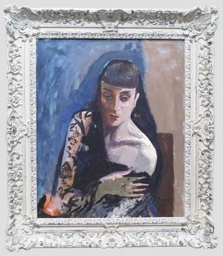 """Frederick SERGER - Pittura - Portrait of a Young Woman"""", Oil on Canvas, 1940's"""