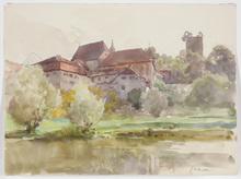 """Edward Harrison COMPTON - Dibujo Acuarela - """"View of Pappenheim"""" watercolor, 1917"""