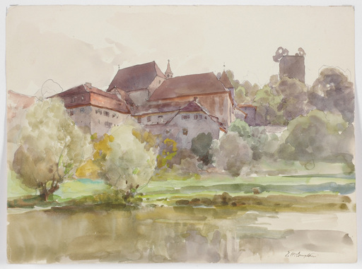 """Edward Harrison COMPTON - Drawing-Watercolor - """"View of Pappenheim"""" watercolor, 1917"""