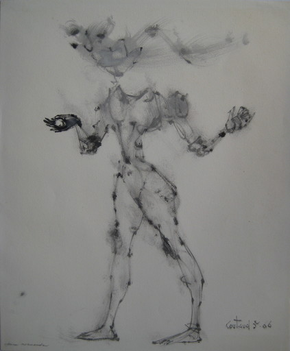 Lucien COUTAUD - Disegno Acquarello - DESSIN 1966 ENCRE DE CHINE GOUACHE SIGNÉ HANDSIGNED DRAWING