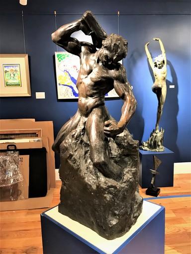 "Albin POLASEK - Sculpture-Volume - ""Man Carving His Own Destiny"""