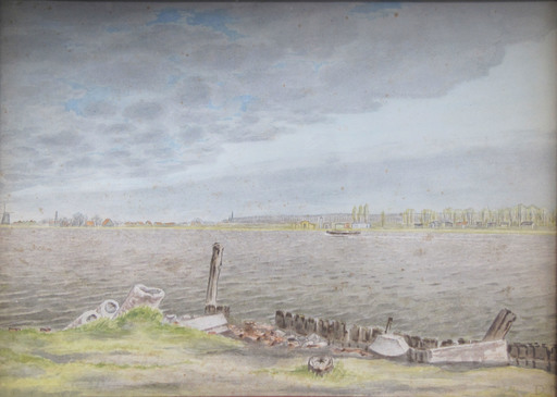 Dirk Hidde NIJLAND - Drawing-Watercolor - River view