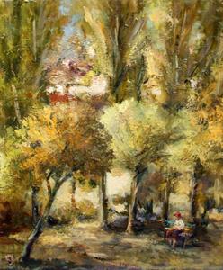 Levan URUSHADZE - Peinture - An old woman on a bench