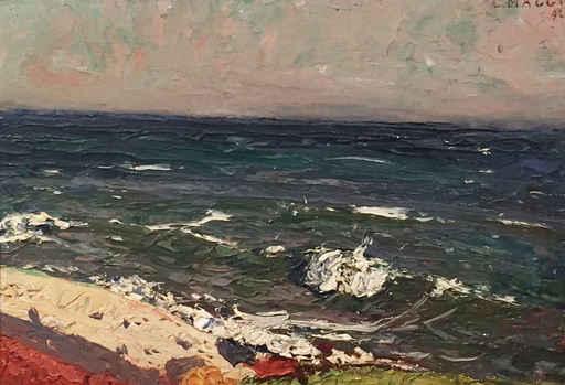 Cesare MAGGI - Painting - San Remo, Mareggiata;  Bardonecchia