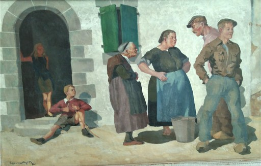 Emile Louis GUILLAUME - Pittura - La conversation