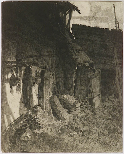 "Franz Xaver WOLF - Disegno Acquarello - ""Old Shed"", 1920s"