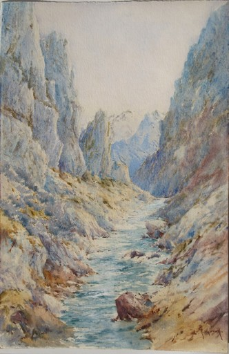 Louis RAMBAUD - Drawing-Watercolor - VALLEE DANS LES ALPES