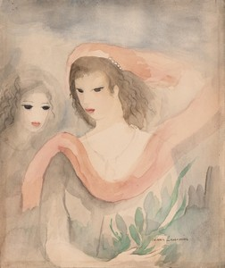 Marie LAURENCIN - Drawing-Watercolor - Deux Tetes de Femmes