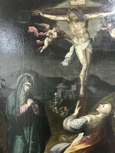 Pietro ORRENTE IL BASSANO SPAGNOLO - Painting - Calvário com Santos