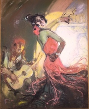 Louis FORTUNEY - Dibujo Acuarela - DANSEUSE DE FLAMENCO