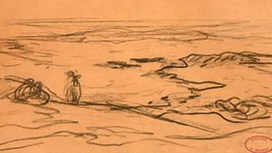 """Henry MORET - Dibujo Acuarela - """"Côte bretonne"""" - """"Personnages sur la plage"""""""