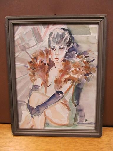 Rudolf BURGER - Dessin-Aquarelle - Venus im Pelz - erotischer Frauenakt mit Pelzstola