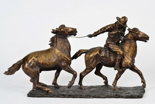 Angiolo MALAVOLTI - Scultura Volume - Le gardien de chevaux