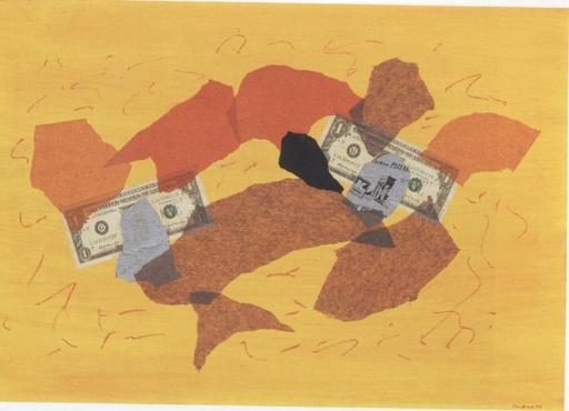 Giulio TURCATO - Pintura - Acropoli con Dollari