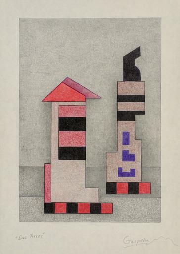 Enrique Rodriguez GUZPENA - Drawing-Watercolor - Dos torres