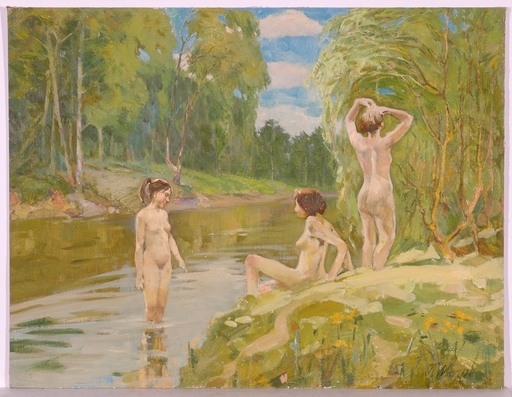 "Piotr MAGRO - Painting - ""Beauty Bathers"", Oil Painting, 1960s"