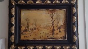 Hendrick AVERCAMP - Painting - Winter landscape with bird-trap