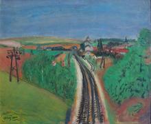 Henri HAYDEN - Pintura - Landscape with Train-rail