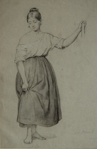 Charles BRIAS - Zeichnung Aquarell - A Young girl