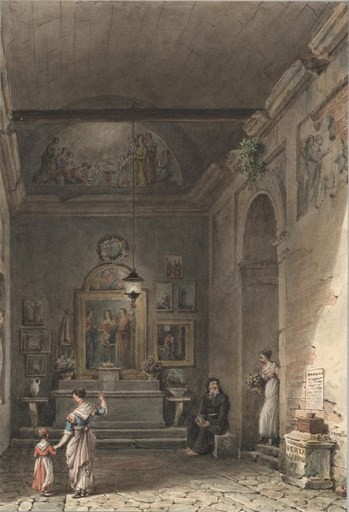 Victor Jean NICOLLE - Drawing-Watercolor - Oratoire italien