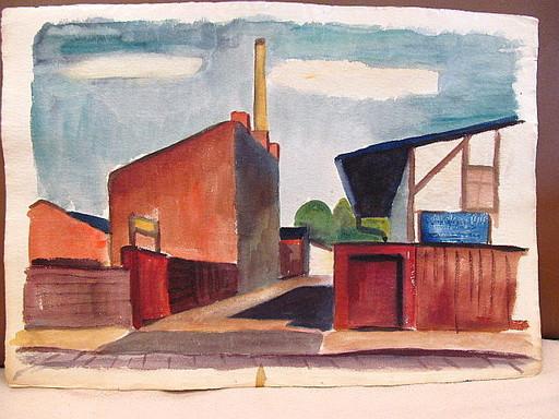 Walter KOHLHOFF - Disegno Acquarello - Industrieareal - verso Tuschzeichnung