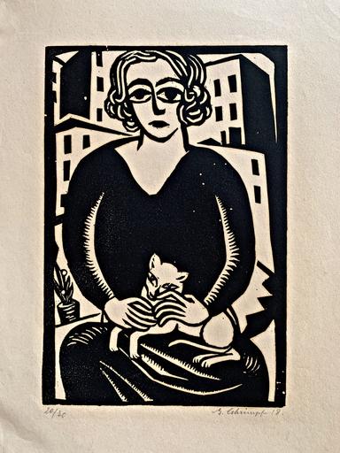 Georg SCHRIMPF - Print-Multiple - Maria mit Katze