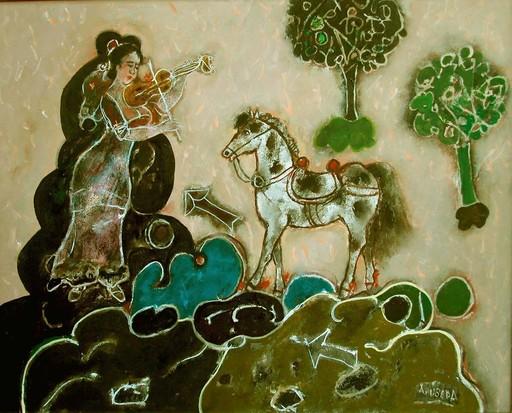 Agustín UBEDA - Painting - Suena el jardín
