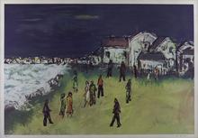 Solomon WILSON - Grabado - Figures on Beach at Night