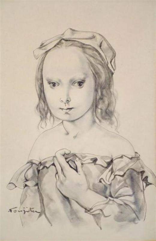 Tsuguharu FOUJITA - Drawing-Watercolor - Portrait de jeune fille