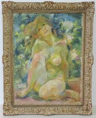 Alexander Leo VON SOLDENHOFF - Painting - Mädchenakt im Garten,Girl nude
