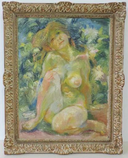 Alexander Leo VON SOLDENHOFF - Pintura - Mädchenakt im Garten,Girl nude