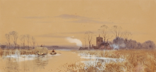 "Robert Winchester FRASER - Drawing-Watercolor - ""By Claydon /Suffolk"", 1896"