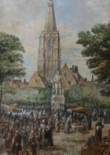Edward Sherrat COLE - Disegno Acquarello - Jour de marché à Bruges