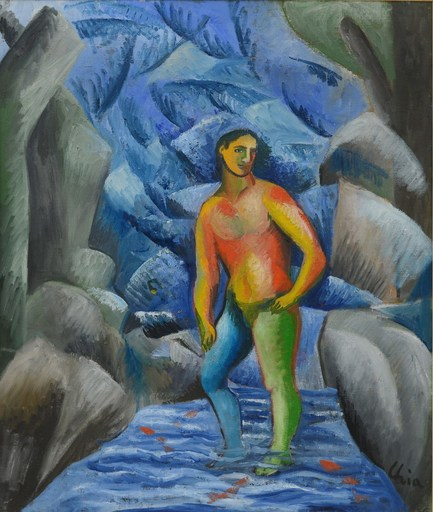 Sandro CHIA - Peinture - Uomo tra le rocce